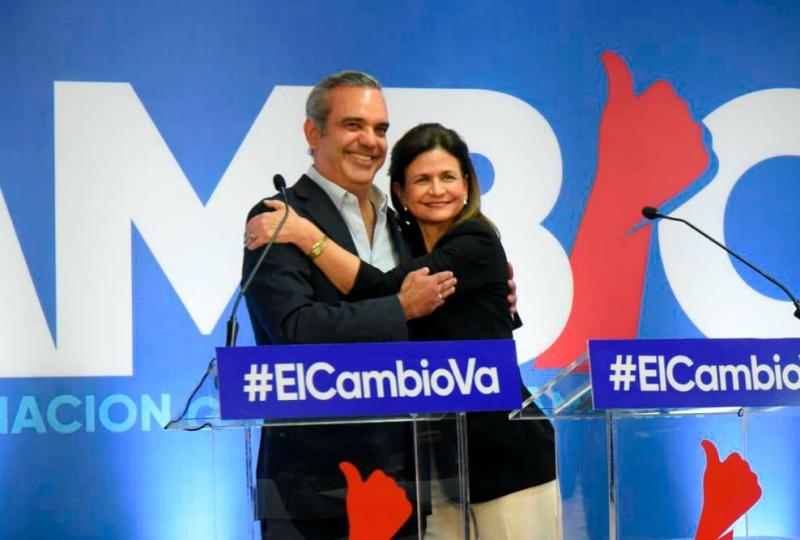 Luis Abinader y Raquel Peña